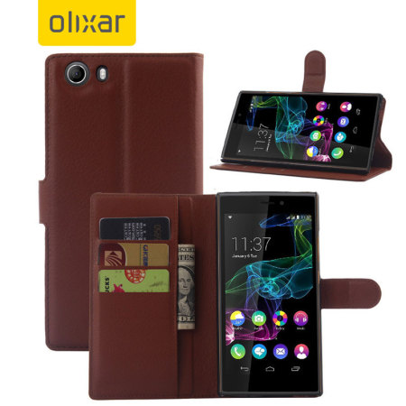 Olixar Wiko Ridge Fab 4G Wallet Case - Brown