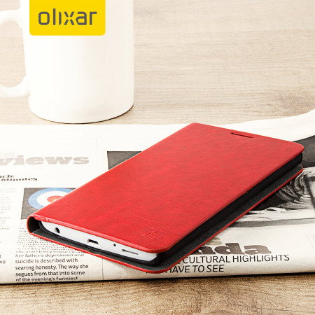 Olixar Leather-Style LG V10 Wallet Stand Case - Red