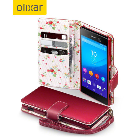 Olixar Leather-Style Sony Xperia M5 Wallet Case - Floral Red