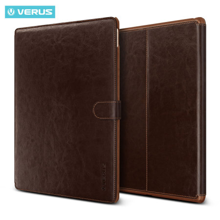 Verus Dandy Leather Style iPad Pro 12.9 inch Case - Dark Brown