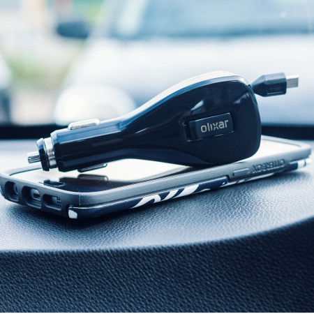 Olixar Retractable 3.4A Micro USB In-Car Charger with USB Port