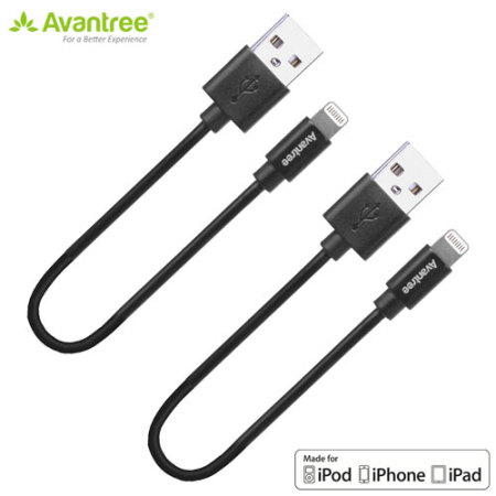 Avantree 2x MFi Lightning to USB Sync & Charge Short Cables - Black