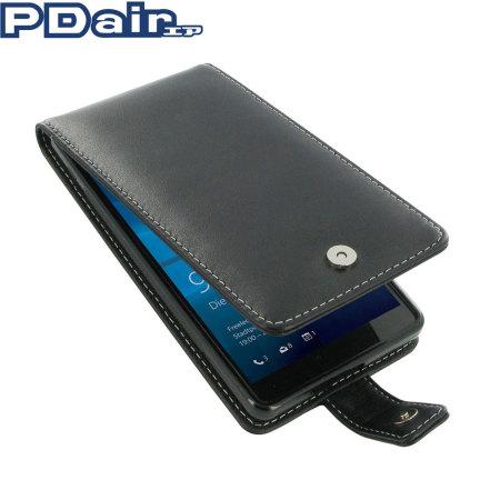 PDair Leder Deluxe Lumia 950 XL Flip Tasche in Schwarz