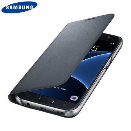 Original Samsung Galaxy S7 Tasche Flip Wallet Cover in Schwarz