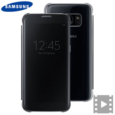 best service ae8c7 b247f Official Samsung Galaxy S7 Clear View Cover Case - Black