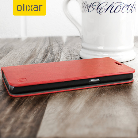 Olixar Leather-Style Samsung Galaxy S7 Wallet Stand Case - Red