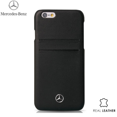 Mercedes-Benz iPhone 6S Plus / 6 Plus Real Leather Card Case - Black