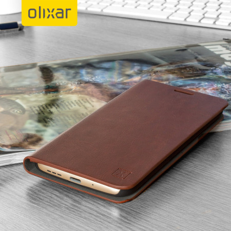 best cheap 432ae 41728 Olixar Leather-Style LG G5 Wallet Stand Case - Brown
