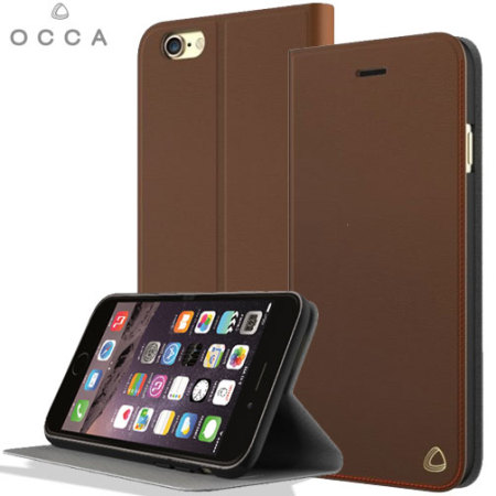 OCCA iPhone 6S Plus / 6 Plus Genuine Leather Wallet Case - Brown