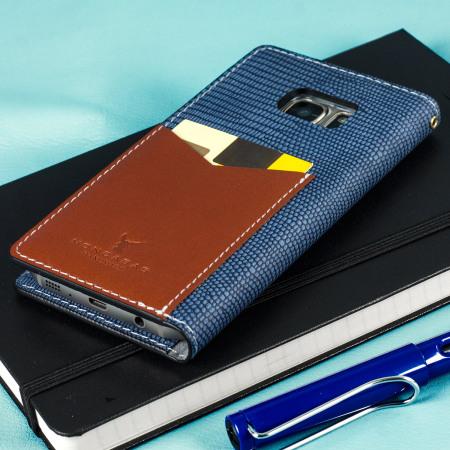 Moncabas Liza Leather Samsung Galaxy S7 Edge Wallet Case - Navy
