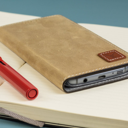 Moncabas Vintage Leather Samsung Galaxy S7 Edge Wallet Case - Camel