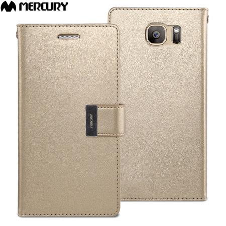 Mercury Rich Diary Samsung Galaxy S7 Premium Wallet Case - Gold