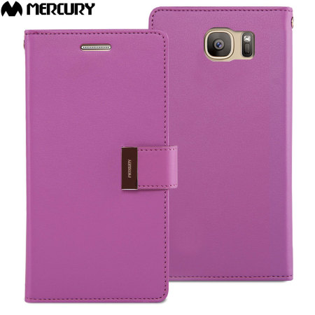 Mercury Rich Diary Samsung Galaxy S7 Premium Wallet Case - Purple