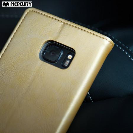 Mercury Blue Moon Flip Samsung Galaxy S7 Wallet Case - Gold