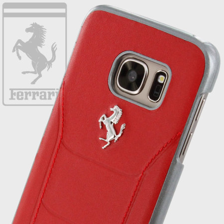 on sale c5b6a fc84e Ferrari 488 Genuine Leather Samsung Galaxy S7 Hard Case - Red