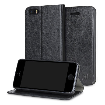 olixar leather-style iphone se wallet stand case - black reviews