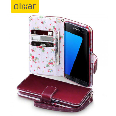 cheap for discount 61a69 11134 Olixar Leather-Style Samsung Galaxy S7 Edge Wallet Case - Floral Red