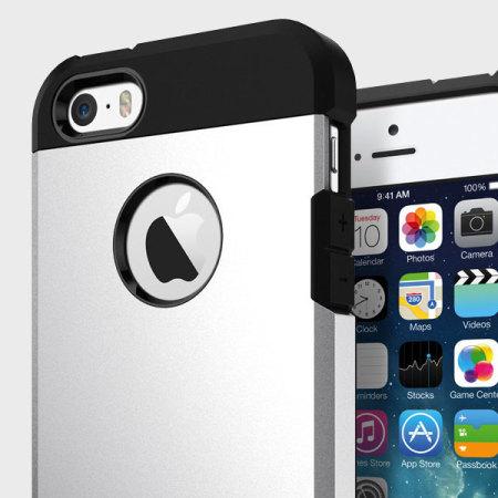 Spigen Tough Armor iPhone SE Case - Satin Silver