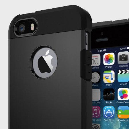 spigen tough armor iphone se case - black reviews