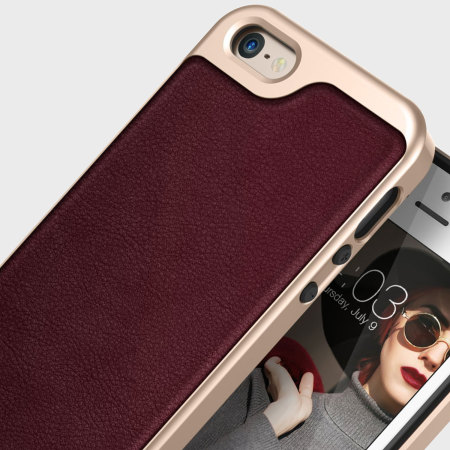 Caseology Envoy Series iPhone SE Case - Cherry Oak Leather