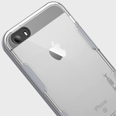 Ghostek Cloak iPhone SE Aluminium Tough Case - Clear / Silver