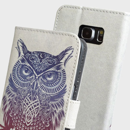 detailed look 9a3bc 03027 Create and Case Samsung Galaxy S7 Edge Wallet Case - Warrior Owl