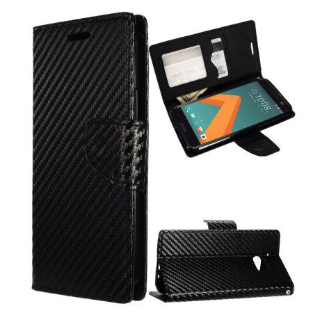 lumia zizo carbon fibre style htc 10 wallet case black