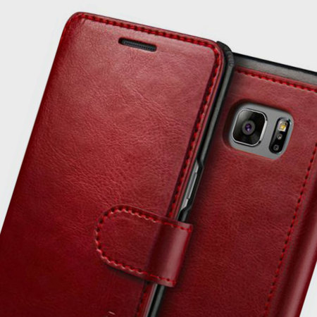 VRS Dandy Leather-Style Samsung Galaxy Note 7 Wallet Case - Wine