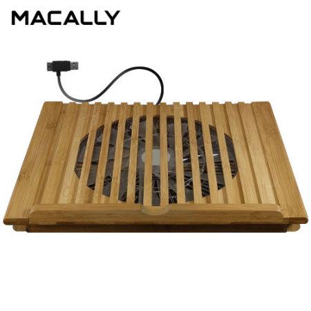Macally EcoFanPro2 Universal Bamboo Laptop Cooling Stand