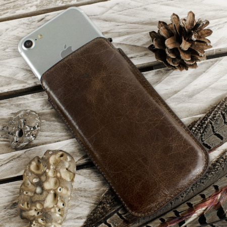 Redneck Red Line Genuine Leather iPhone 7 Pouch - Brown