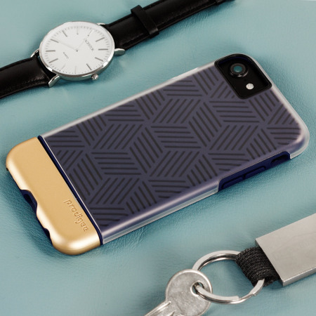 Prodigee Stencil iPhone 7 Case - Navy Blue / Gold