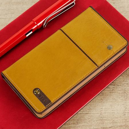STIL Toscano Wine Genuine Leather iPhone 7 Wallet Case - Camel Brown
