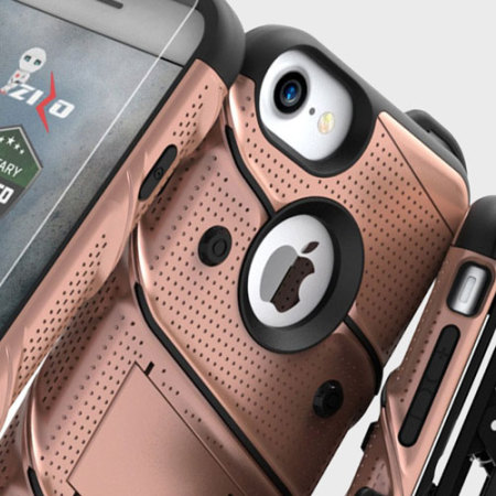 Zizo Bolt Series iPhone 7 Tough Case & Belt Clip - Rose Gold / Black
