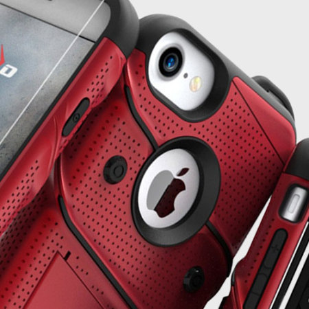Zizo Bolt Series iPhone 8 / 7 Tough Case & Belt Clip - Red / Black