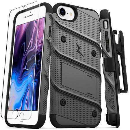 Zizo Bolt Series iPhone 8 / 7 Tough Case & Belt Clip - Grey / Black