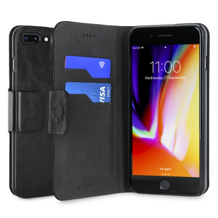 Olixar Leather-Style iPhone 8 Plus / 7 Plus Wallet Stand Case - Black