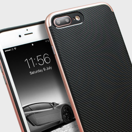 Funda iPhone 7 Plus Olixar X-Duo - Fibra Carbono Oro Rosa