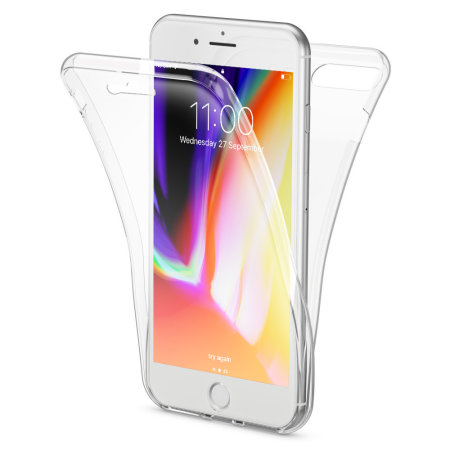 best service 39402 3e809 Olixar FlexiCover Full Body iPhone 8 Plus / 7 Plus Gel Case - Clear