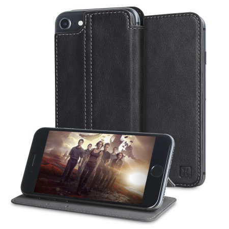 Olixar Slim Genuine Leather Flip iPhone 7 Wallet Case - Black