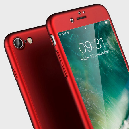 olixar xtrio iphone 7 case & screen protector - red
