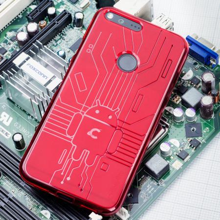 reputable site d1833 00c43 Cruzerlite Bugdroid Circuit Google Pixel XL Case - Red