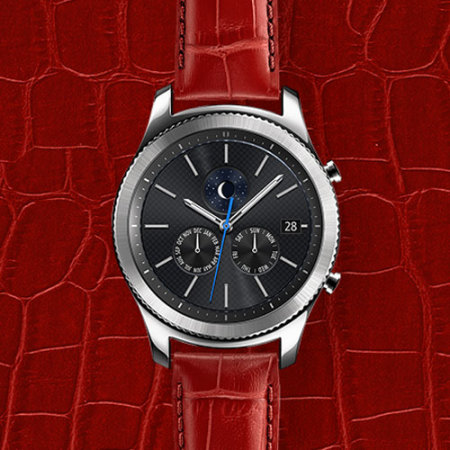 Official Samsung Gear S3 Alligator Grain Leather Strap - Red