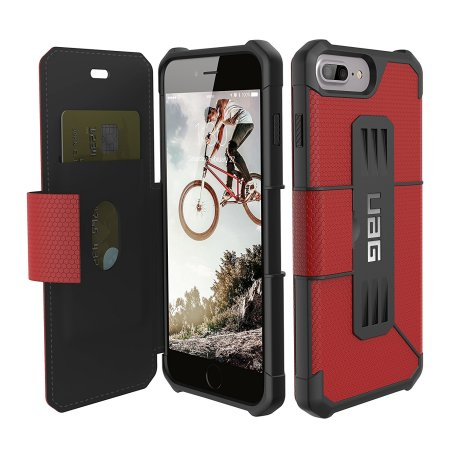 uag metropolis rugged iphone 8 plus / 7 plus wallet case - magma red reviews