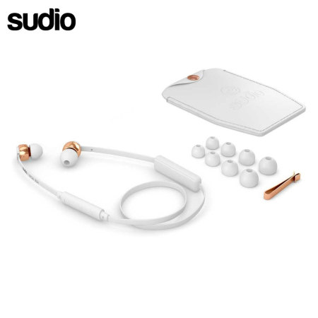 Ecouteurs Bluetooth intra auriculaire Sudio VASA BLA – Blanc / Or Rose