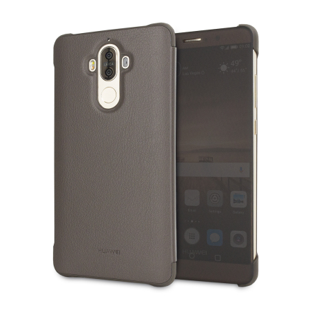 huawei cover. official huawei mate 9 leather-style view cover case - mocha brown i
