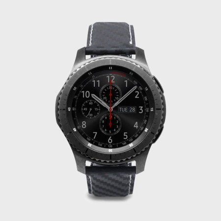SLG D+ Samsung Gear S3 Carbon Leather Strap - Black