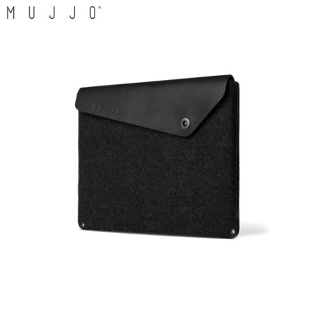 Mujjo MacBook Pro 13 USB-C without Touch Bar Leather Sleeve - Black