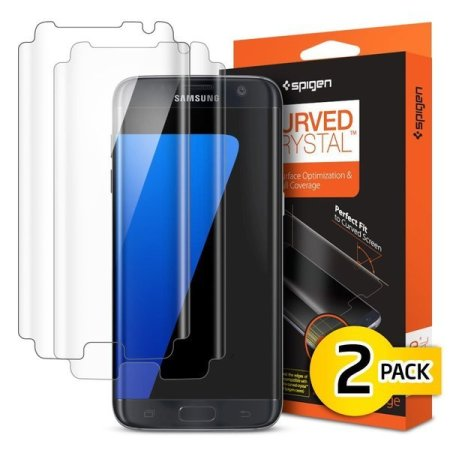 Spigen Samsung Galaxy S7 Edge Curved Crystal Screen Protector - 2 Pack