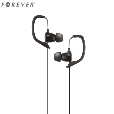 Forever Sport Music In-Ear Headphones with Built-In Mic - Black