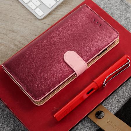 Housse lg g6 hansmare portefeuille en cuir rose for Housse lg g6